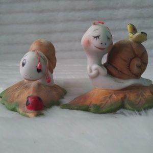 Vintage Homco Ceramic Snails